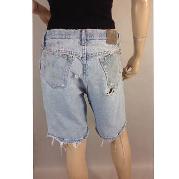 Dirty Work Distressed Denim Shorts Boyfriend Shorts Shredded Destroyed Painted Jeans  Ripped Fringed Wrangle Jean Shorts