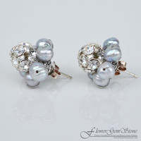 Stud Silver Earring Pearl Gem Stone with Swarovski Crystal Bead Handmade by Flower GemStone