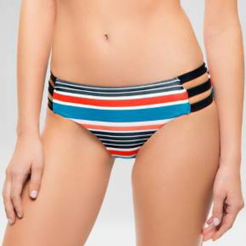 Women's Striped Strappy Hipster Bikini Swim Bottom - Multi-Colored - Sunn Lab : Target