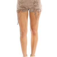 Suede lace up shorts - Beige