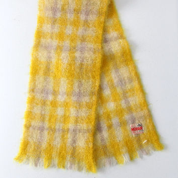 SALE vintage mohair scarf / 1970s yellow plaid scarf
