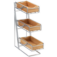 5.25W x 14D x 18H 3 Tier Flatware Display Bamboo Bins