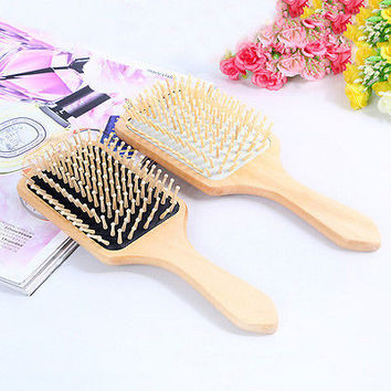 Wooden Comb Vent Paddle Brush Keratin Health Hair Care Spa Massage Antistatic HU