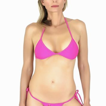 Connected Triangle Top a Tie Thong Bikini Bottom (Fuchsia)