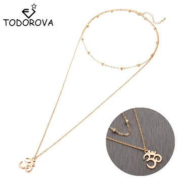 Todorova New Boho Jewelry Multi Layer Beads Choker Necklaces for Women Sexy Meditation Om Symbol Pendant Collier choker Necklace