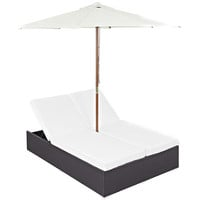 Convene Outdoor Patio Chaise with Umbrella in Espresso White