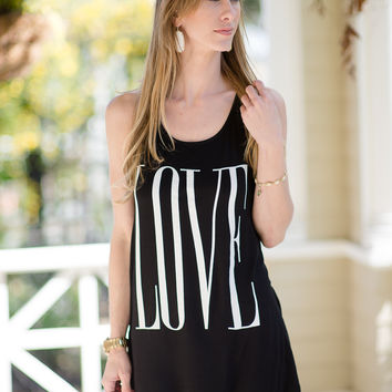 He Loves Me Tank- Black