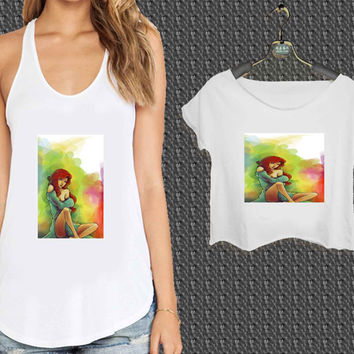 disney ariel little mermaid colorful painting For Woman Tank Top , Man Tank Top / Crop Shirt, Sexy Shirt,Cropped Shirt,Crop Tshirt Women,Crop Shirt Women S, M, L, XL, 2XL*NP*