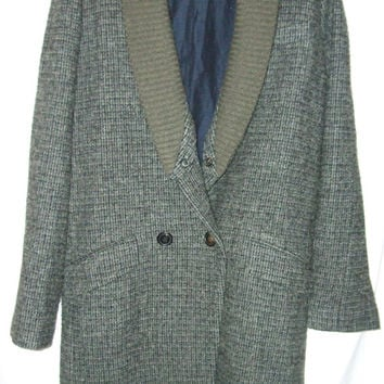 Womens Vanessa Bruno Harris Tweed Wool Coat, with Detachable shawl collar, Grey, size 4
