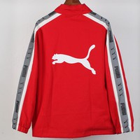 PUMA 2018 autumn and winter new trend men and women models 3D reflective string jacket Red