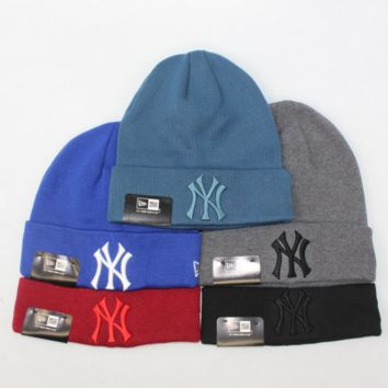 NewYorkYankees Fashion Winter Purple Color Embroidery Men And Women Couples Knitted Hats G