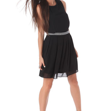 Black chiffon skater dress with embellished waist