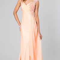 Long Cap Sleeve Prom Gown by Dave and Johnny