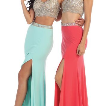Two Piece Set Long Prom Dress Formal Evening Gown
