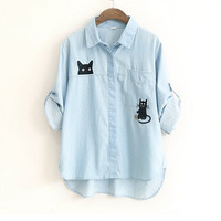 Lovey cat embroidery Turn-down collar long sleeve denim shirt blouse mori girl