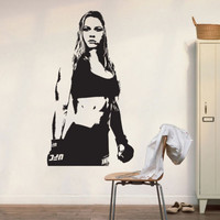 Removable Vinyl Carved UFC Champion MMA Ronda Rousey Wall Decal Art Poster Decor Sticker Vinyl Mural ES-68