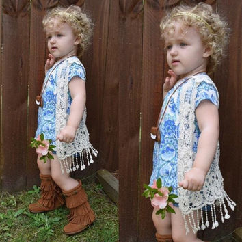 T-shirt Tops Vest Tassel Waistcoat Toddler Kids Baby Girls Crochet Lace Hollow Flower White Girls Clothing
