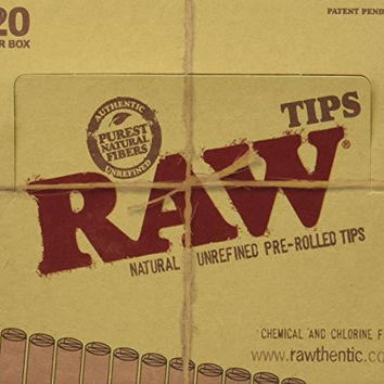 RAW Papers Brand Pre Rolled Natural Unrefined Rolling Tips 20 Packs