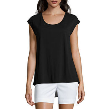 Liz Claiborne® Extended-Shoulder Butterfly Tee