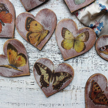 Butterfly wedding favors wooden heart magnets guest favors bridal shower baby shower rustic