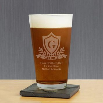 Engraved Crest Glass
