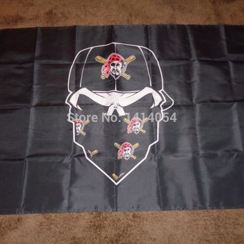 Pittsburgh-Pirates  Skull mask  Flag NHL 3x5FT Banner 100D Polyester flag brass grommets , free shipping