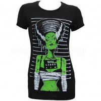 Too Fast Clothing Frankenstein Bride Pin Up Burnout Women's T-Shirt at Atomic Cherry
