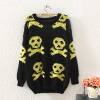 skull sweater,sweaters 13/14 women fashion,batwing sweater,black sweater