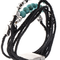 Multi Cord Bead Accent Bracelet - Worn Silver
