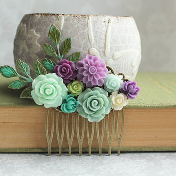 Mint Rose Comb Aqua Bridal Hair Piece Purple Flower Hair Comb Something Blue Bridesmaids Gift Wedding Hairpiece Lavender Mauve Chrysanthemum