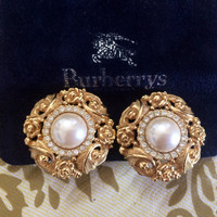 Vintage Burberrys golden Edwardian flower and arabesque design earrings with faux pearl, crystal stones,. Rare Burberry masterpiece
