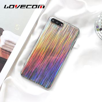 LOVECOM For iPhone 6 6S 7 8 Plus X Case Hot Holographic Rainbow Shiny Soft TPU Mobile Phone Back Cover Cases Fundas Shells Capa