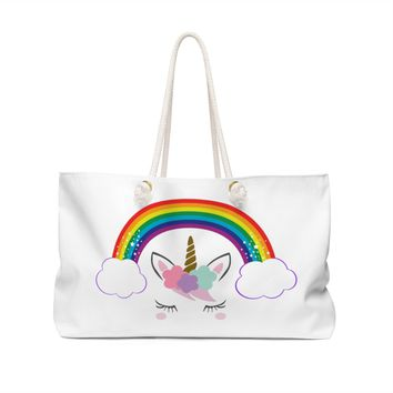 Rainbow Unicorn Weekender Bag, Gift For Her, Weekender, Gift for 44e7c41540