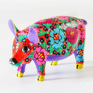 Mexican Folk Art - Wood Carving by CANDIDO JIMENEZ : Flower Pig