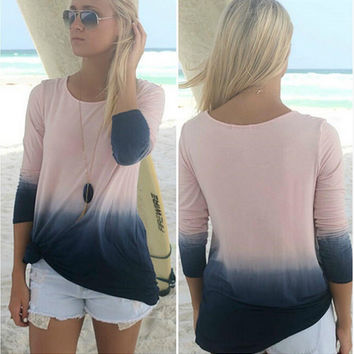 Hot Sale Gradient Long Sleeve T-shirts [7322502209]