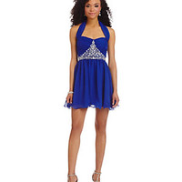 B. Darlin Halter Neckline Beaded Trim Party Dress | Dillard's Mobile