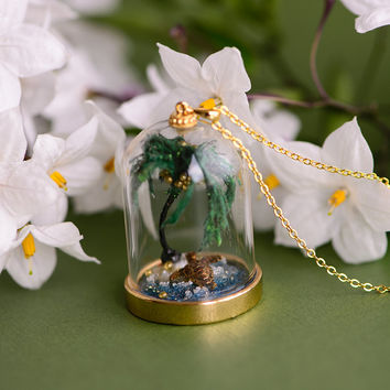 Tropical Terrarium Necklace Bonsai Palm Tree Miniature Bell Jar Tiny Turtle Diamond Abalone Paua Pearl Glass Pendant Gold Chain Necklace
