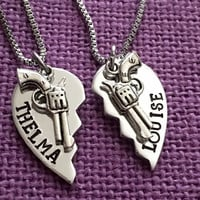 Thelma and Louise Necklace Set - Best friends - Thelma and Louise Jewelry - Necklace - Partners in Crime Jewelry