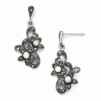 Sterling Silver Marcasite and FW Cultured Pearl Dangle Post Earrings