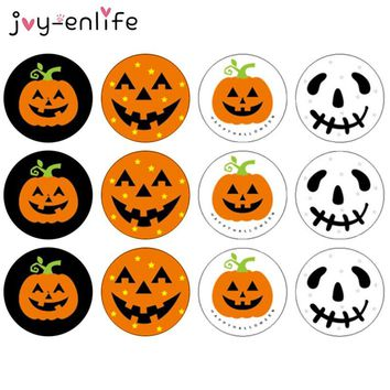 JOY-ENLIFE 120pcs 3CM Halloween Pumpkin Ghost Round Handmade Cake Packaging Sealing Label Kraft Sticker Baking DIY Gift Stickers