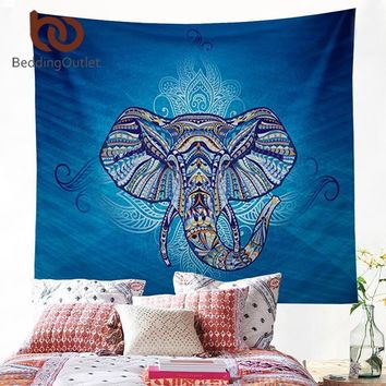 Wall Tapestries  Blue Tapestry Elephant Dorm Decor 150x150cm T
