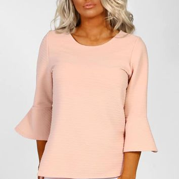 Feeling Peachy Nude Peplum Sleeve Top