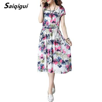 Saiqigui  Summer Dress New Short sleeve women dress casual loose cotton Linen dress Print O-Neck vestidos mujer dress