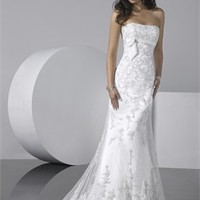 Slim Strapless Empire Waist Small Train Lace Style Wedding Dress WD1953