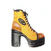 DESTROY 90's Vintage Platform Lace Up Yellow Chunky Boots