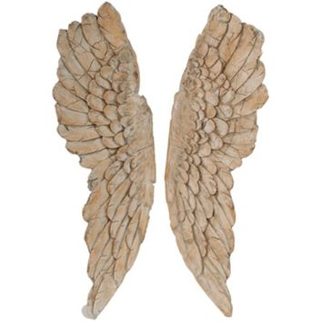 Angel Wings Statue Wall Art, Set of 2, Brown By A and B Home