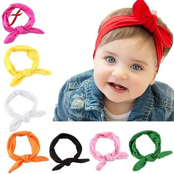 Rabbit Bow Ear 8 Solid Colors Cute Baby Girl Child Infant Toddler Head Wraps Bandana Headband