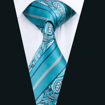 Fashion Men`s Tie 100% Silk Classic Teal Paisley Jacquard Woven Necktie For Formal Wedding Party Business
