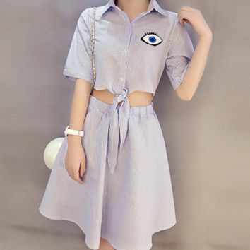Cute short-sleeved striped dress female waist patch eyes dress