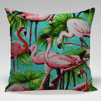 tropical flamenggo cool image Square Pillow Case Custom Zippered Pillow Case one side and two side